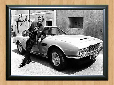 Roger Moore James Bond 007 Aston Martin 1970 Signed Autographed A4 Photo Poster