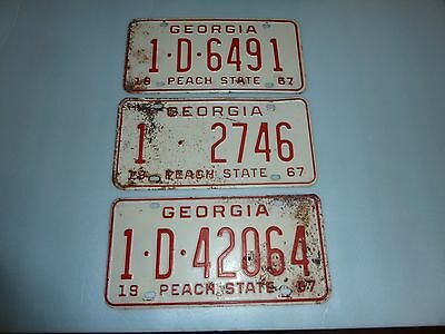 1967 Georgia License Plates - Lot Of 3 - Vintage - Rare - Chevy Ratrod