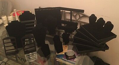 24 Piece Black Jewelry Display Lot. Includes Small Solar Rotating Display