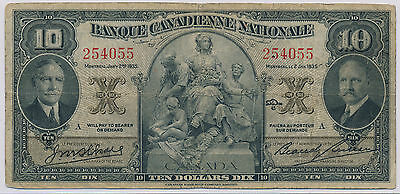 Banque Canadienne Nationale 10 Dollars 1935 - VG/FN