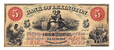 1860 The Bank of Lexington, NC - Five Dollar Obsolete Note No.6116