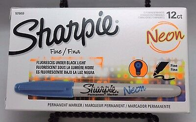Sharpie 1878459 Neon Fine Point Permanent Marker, Neon Blue 12 Pack Made in USA