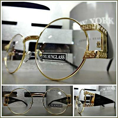 Mens CLASSIC VINTAGE RETRO Style Clear Lens EYE GLASSES Round Gold & Black Frame
