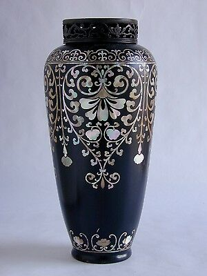 As-Found - Rare Korean Celadon Porcelain, Black Lacquer And Beautiful Mop Vase