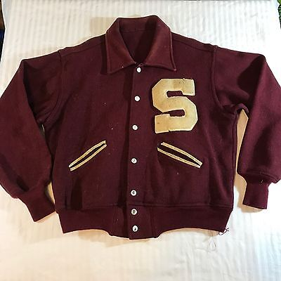 "Vtg Letterman Wool Jacket Burgundy Red w White Letter ""S"" Early '40s High School"