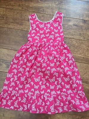 Girls Pink Summer Dress Age 5-6 Butterfly