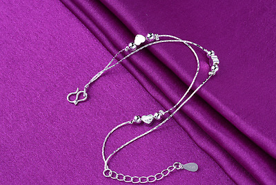 1PC Women Anklet 925Silver Heart Beads Jewelley Mother's Day Gift Bracelet