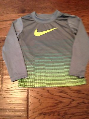 Toddler Boys Size 2t Nike Long Sleeve Shirt Gray And Bright Yellow