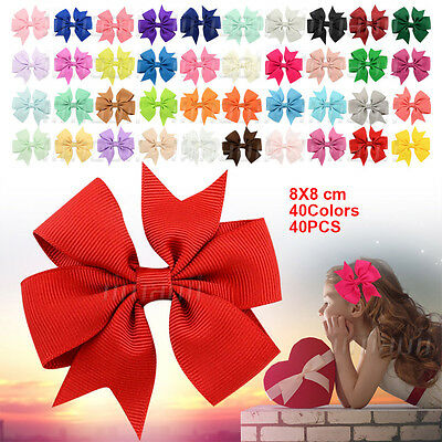 Pack of 40pcs Big Hair Bows Boutique Girls Alligator Clip Grosgrain Ribbon Clips