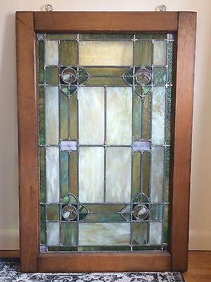 Vintage Arts & Crafts Stained Glass Window