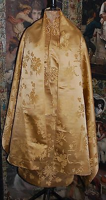 Beautiful Vintage Handmade Chinese Gold Silk Brocade Fabric Or Shawl