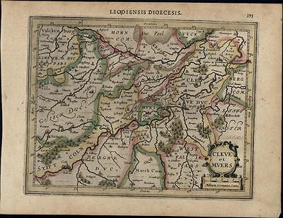 Cleves Germany beautiful detailed antique c.1628 Mercator minor old map