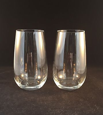 2 Royal Doulton Crystal Tumblers Large 13cm Tall Ideal Gin And Tonic Glasses