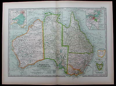 Australia Sydney Melbourne Tasmania Oceania 1897 antique detailed color map