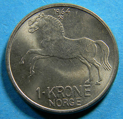Norway 1964 1 Krone Coin KM# 409 (lot # B-0213)