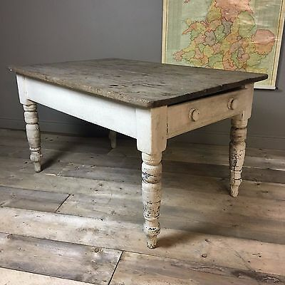 Antique Farmhouse table - very shabby - late 19th century - scrubtop