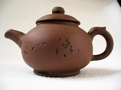 Vintage~SMALL~Chinese~YIXING~Lidded Teapot~Red Clay~Pottery~Terracotta~Marked~NR