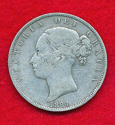 Great Britain 1884 1/2 CROWN .4204 ounces of SILVER!