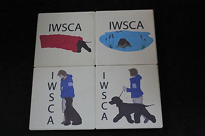 Irish Water Spaniel ceramic coaster set