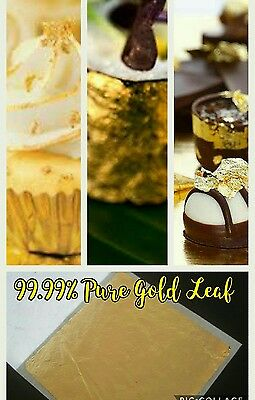 24K 99.99% PURE GOLD LEAF 5 SHEETS  FOOD GRADE + EDIBLE,DECORATING,ART 3.5x3.5cm