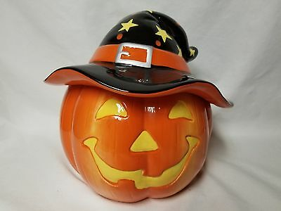 Harry and David Jack-O-Lantern Cookie Jar Pumpkin Witch Hat NEW RARE