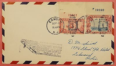 # C11 & 649 Plate # Singles On 1929 Cam 19 First Flight Cover Camden Nj