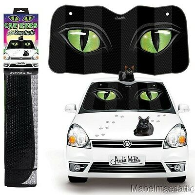 "New Crazy Cat Lady Black Cats Kitten Green Cat Eyes 50"" by 27.5"" Auto Sunshade"