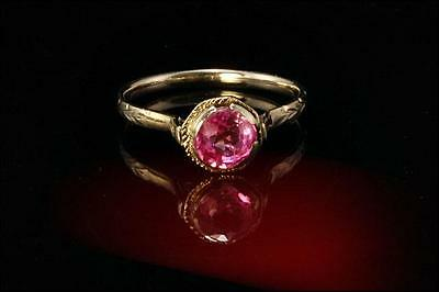 VINTAGE ART DECO NATURAL 1/2ct PINK SAPPHIRE 18K WHITE GOLD RING  (082716039)