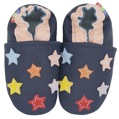 carozoo colorful star dark blue soft sole leather slippers up to 8 years old