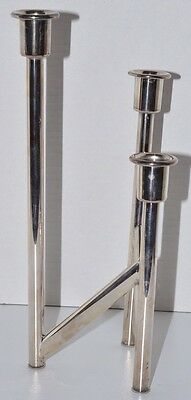 Midcentury Modern Italian Silver Plate Candle Holder Candelabra 3 Tier Italy