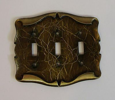 *** Vintage Amerock Carriage House Antique Brass Finish Triple Switch Cover ***