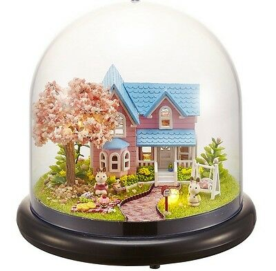 Mini glass DIY dollhouse miniature with LED Light Kit cherry blossoms gift toy g