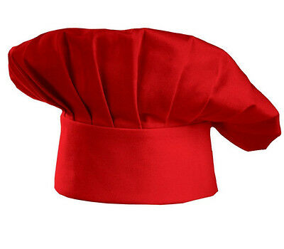 Classic Chef Hat Elastic Adjustable Red Kitchen Catering Cook Food Usa Baker New