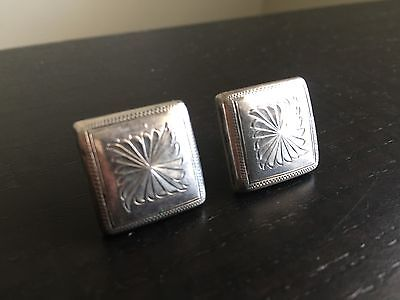 6b3c7e25e Fine Vintage Antique Sterling Silver Square Etched Art Earrings Screw Back  NR