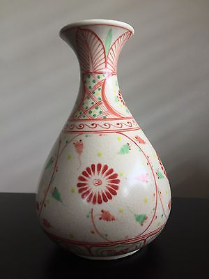 Fine Old Antique Korean Crackle Porcelain Bottle Vase RARE Design Flower Art NR