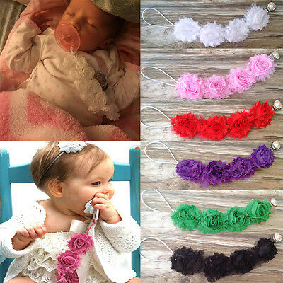 Baby Boys & Girls Pacifier Soother Nipple Flower Diamond Strap Chain Clip Holder