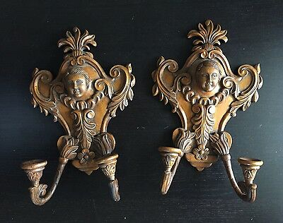 Fine Antique Carved Pair Italian Rococo Cherub Figural Scones Candle Holders Art