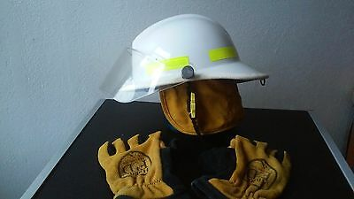 White Fire bunker turnout gear helmet with gloves