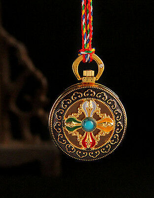 Tibet Holy Blessed Gold Gilt Enamel Dorje Locket Pendant  Gau Prayer Box -