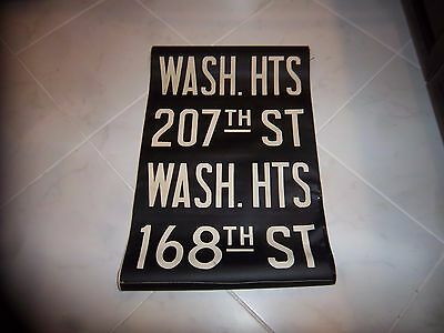 VINTAGE NYC SUBWAY ROLL SIGN COLLECTIBLE WASHINGTON HEIGHTS 207th 168th STREET