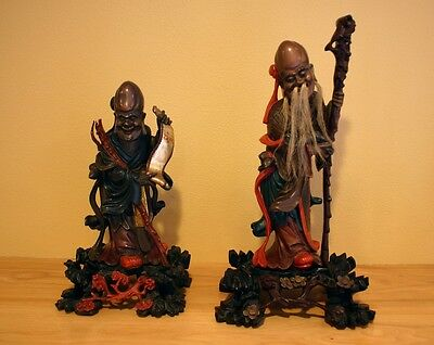 Fine Pair Antique Chinese Carved Polychromed Gilt Lacquer Scholar Figures 1900