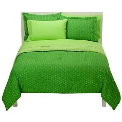 CASUAL HOME REVERSIBLE COMFORTER SET * NEW *  FULL QUEEN Green White Polka Dots