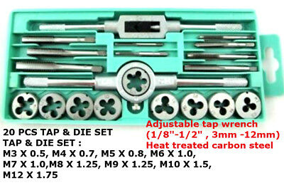 "20pc Tap & Die Set Metric1/8""-1/2"",3MM-12MM /Heat treated carbon steel Toolzone"