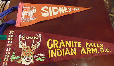 Vintage Sidney & Granite Falls Indian Arms B.C 2 Felt Pennants