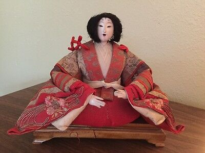 Antique Hina Ningyo Japanese Empress Geisha Doll Sitting Wood Platform Stand