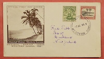 1935 Western Samoa Pictorial Fdc Cachet Cover 3