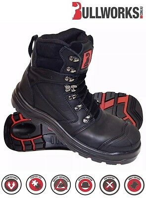 Bullworks KEW Steel Cap Work Boots Size 5 to 13 AUS/UK - (BLACK)