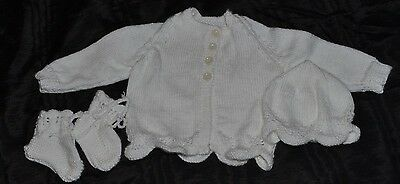 Hand knitted new born Baby layette set