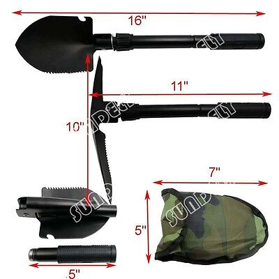 NEW Army Military Folding Spade Shovel Pick Axe Camping Metal Detecting Tool