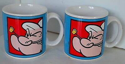 Vintage Popeye Cup Mug King Features Syndicate MGM Grand Lot of 2